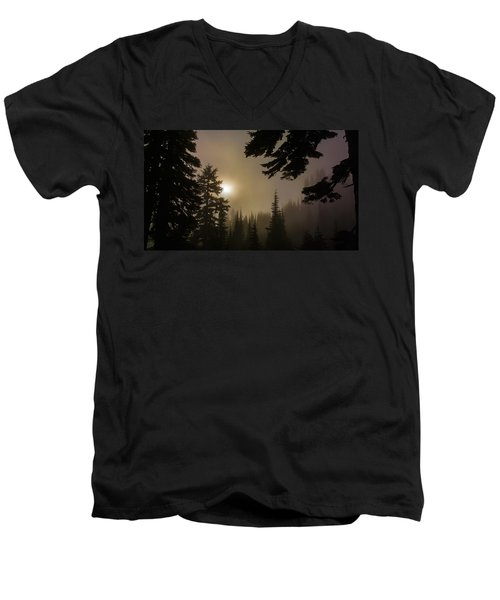 Silhouettes Of Trees On Mt Rainier II Men's V-Neck T-Shirt