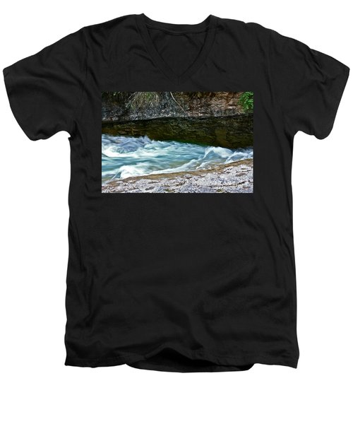 Men's V-Neck T-Shirt featuring the photograph Silky Flow by Linda Bianic