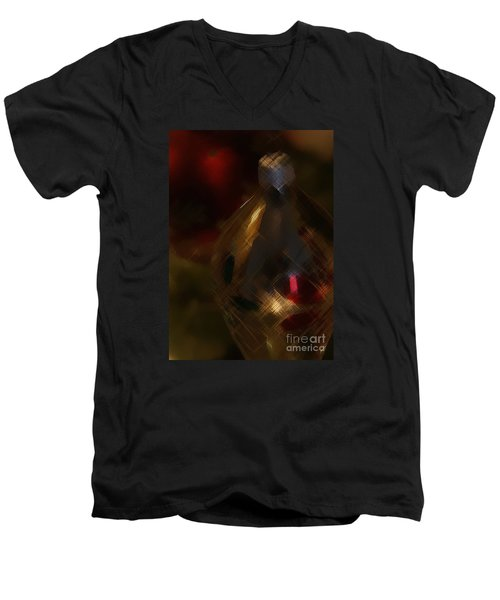 Silver And Gold Men's V-Neck T-Shirt by Linda Shafer