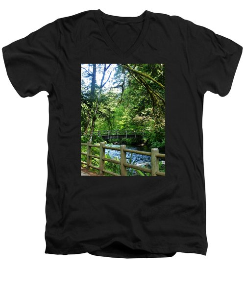 Men's V-Neck T-Shirt featuring the photograph Silver Falls Stream by VLee Watson