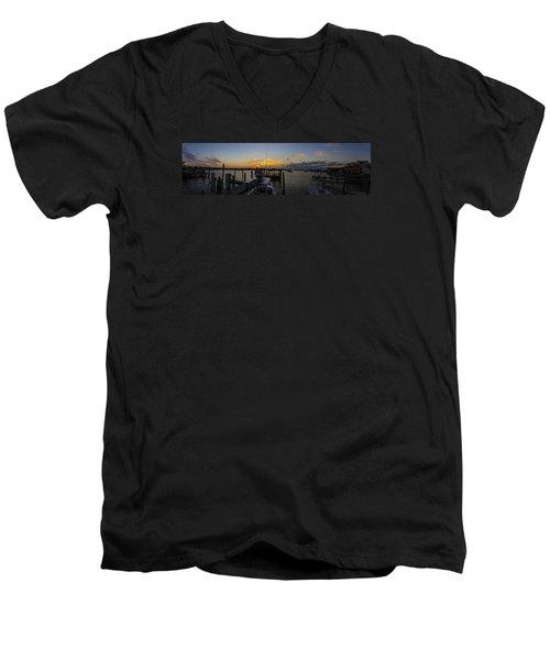 Silver Lake Sunset Panorama Men's V-Neck T-Shirt by Greg Reed