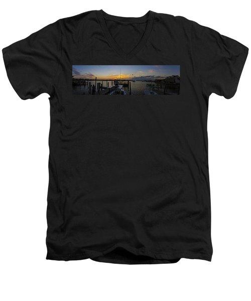Silver Lake Sunset Panorama Men's V-Neck T-Shirt