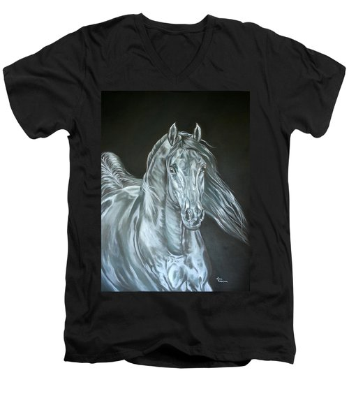 Silver Men's V-Neck T-Shirt by Leena Pekkalainen