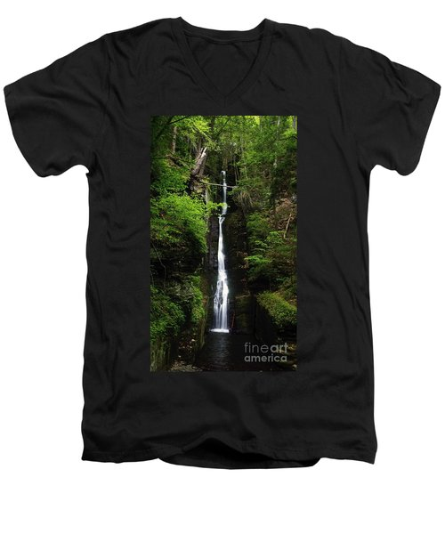Men's V-Neck T-Shirt featuring the photograph Silverthread Falls by Debra Fedchin