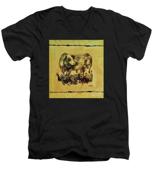 Simmental Bull 12 Men's V-Neck T-Shirt by Larry Campbell