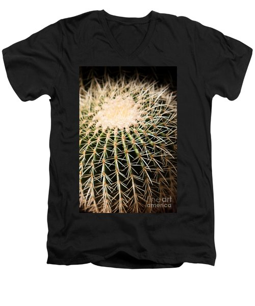 Men's V-Neck T-Shirt featuring the photograph Single Cactus Ball by John Wadleigh