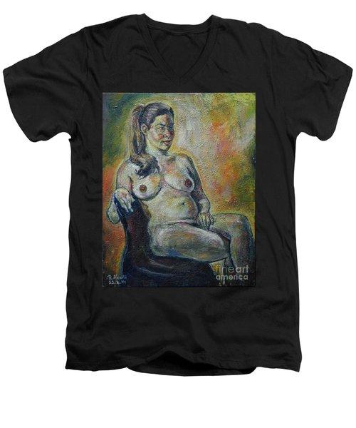 Sitting Nude Men's V-Neck T-Shirt