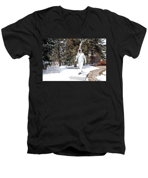Men's V-Neck T-Shirt featuring the photograph Ski Trooper by Fiona Kennard