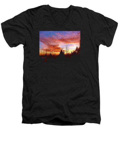 Skies Ablaze Men's V-Neck T-Shirt by Sadie Reneau