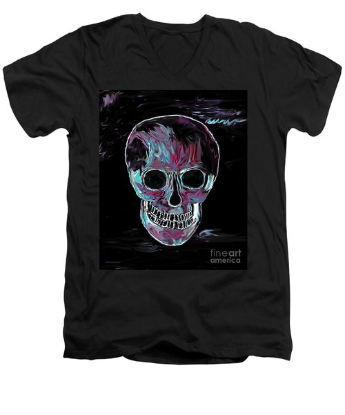 Men's V-Neck T-Shirt featuring the painting Skull by Annie Zeno