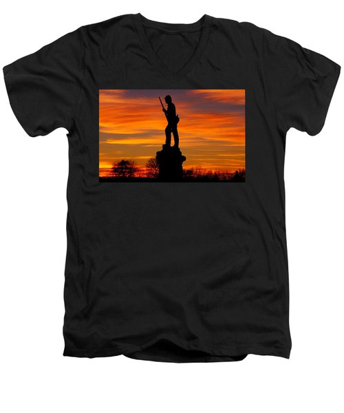 Men's V-Neck T-Shirt featuring the photograph Sky Fire - 128th Pennsylvania Volunteer Infantry A1 Cornfield Avenue Sunset Antietam by Michael Mazaika