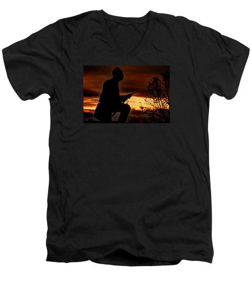 Men's V-Neck T-Shirt featuring the photograph Sky Fire - 1st Pa Cavalry Regiment-a1 Cemetery Ridge Near Copse Of Trees Dawn Autumn Gettysburg by Michael Mazaika