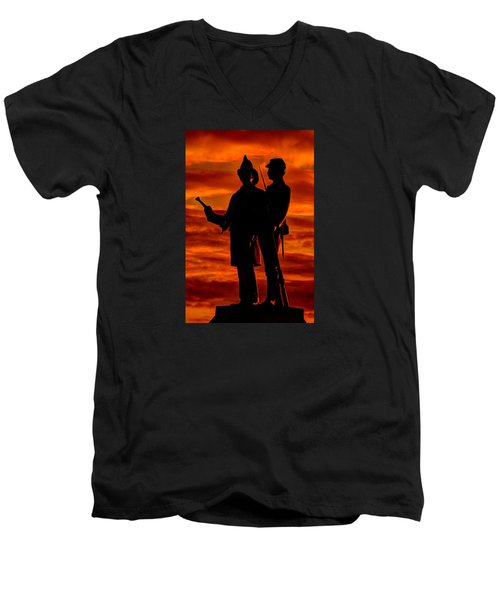 Men's V-Neck T-Shirt featuring the photograph Sky Fire - 73rd Ny Infantry Fourth Excelsior Second Fire Zouaves-b1 Sunrise Autumn Gettysburg by Michael Mazaika
