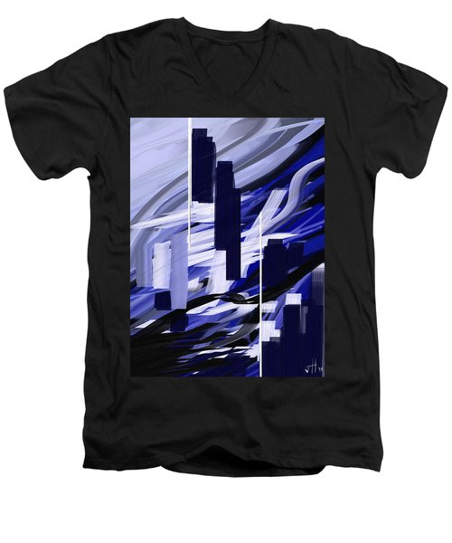 Men's V-Neck T-Shirt featuring the painting Skyline Reflection On Water by Jennifer Hotai