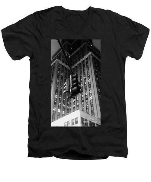 Skyscraper Framed Traffic Light Men's V-Neck T-Shirt by James Aiken