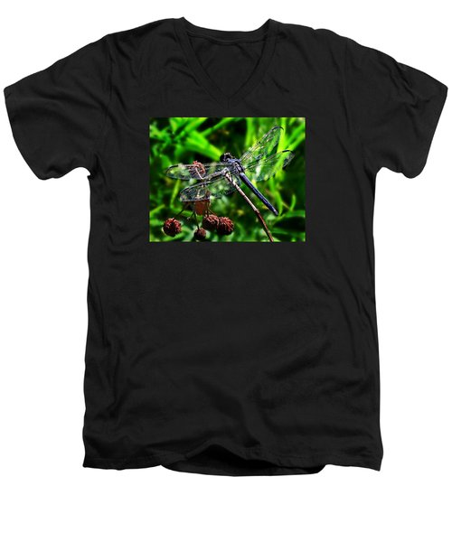 Slaty Skimmer Dragonfly Men's V-Neck T-Shirt by William Tanneberger