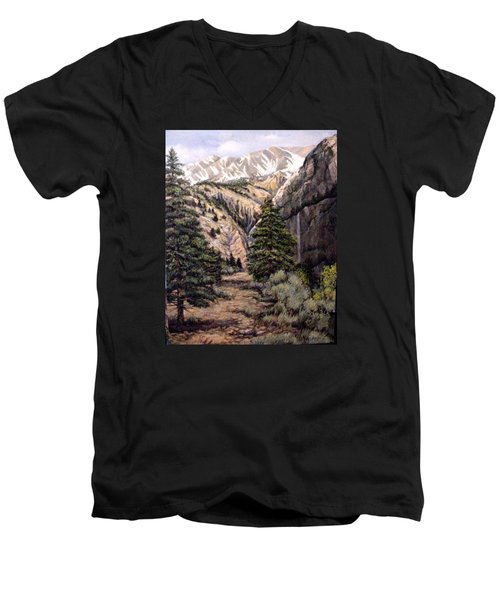 Men's V-Neck T-Shirt featuring the painting Sleeping Faces In The Rock by Donna Tucker