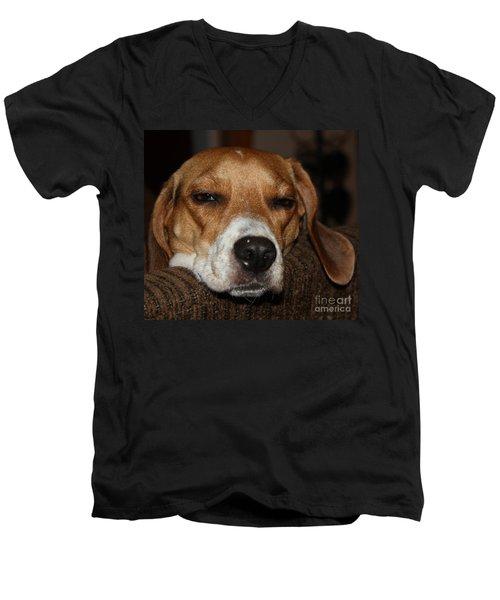 Sleepy Beagle Men's V-Neck T-Shirt by John Telfer
