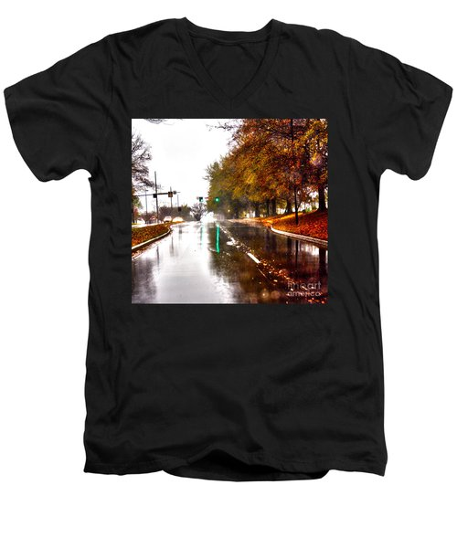 Men's V-Neck T-Shirt featuring the photograph Slick Streets Rainy View by Lesa Fine