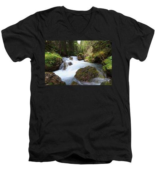 Men's V-Neck T-Shirt featuring the photograph Small Stream by Antonio Scarpi
