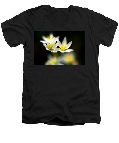 Small White Flowers Men's V-Neck T-Shirt