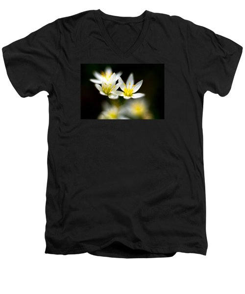 Small White Flowers Men's V-Neck T-Shirt