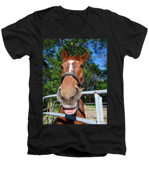 Men's V-Neck T-Shirt featuring the photograph Smile by Ed Weidman