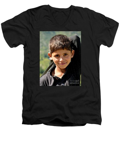 Men's V-Neck T-Shirt featuring the photograph Smiling Boy In The Swat Valley - Pakistan by Imran Ahmed