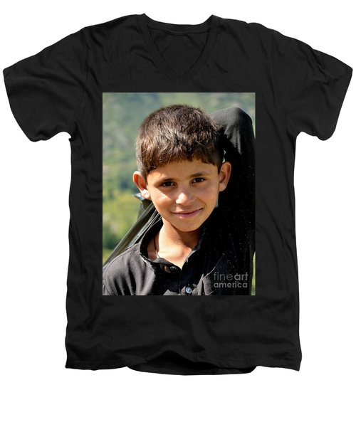 Smiling Boy In The Swat Valley - Pakistan Men's V-Neck T-Shirt