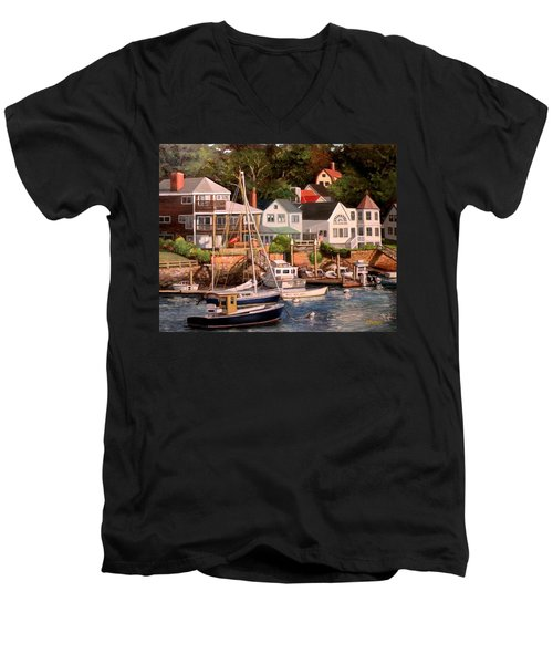Smiths Cove Gloucester Men's V-Neck T-Shirt by Eileen Patten Oliver