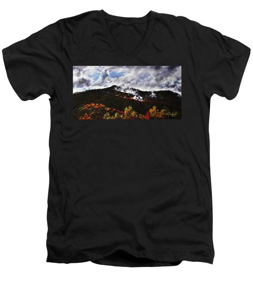 Smoky Mountain Angel Hair Men's V-Neck T-Shirt by Craig T Burgwardt