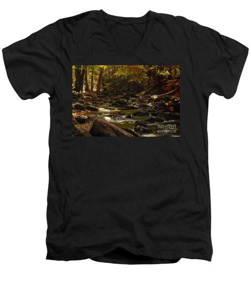 Smoky Mountain Stream Men's V-Neck T-Shirt by Patrick Shupert