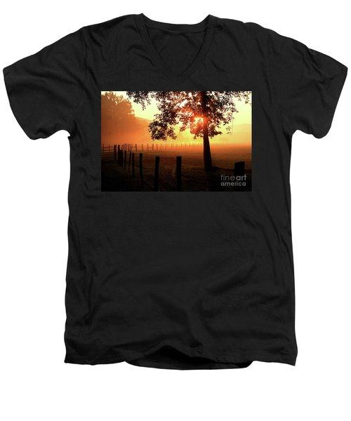 Smoky Mountain Sunrise Men's V-Neck T-Shirt by Douglas Stucky