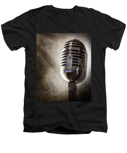 Smoky Vintage Microphone Men's V-Neck T-Shirt