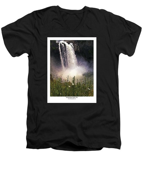 Men's V-Neck T-Shirt featuring the photograph Snoqualmie Falls Wa. by Kenneth De Tore