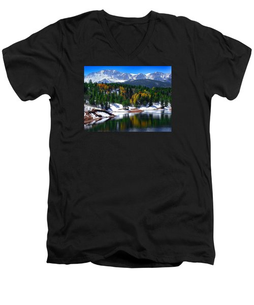 Snow Capped Pikes Peak At Crystal  Men's V-Neck T-Shirt by John Hoffman