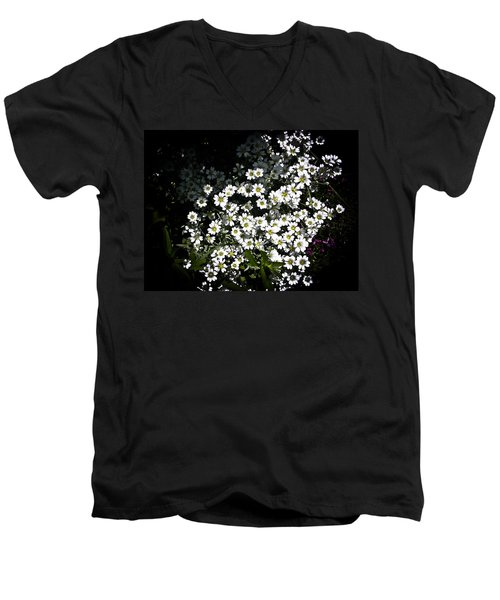 Men's V-Neck T-Shirt featuring the photograph Snow In Summer by Joann Copeland-Paul
