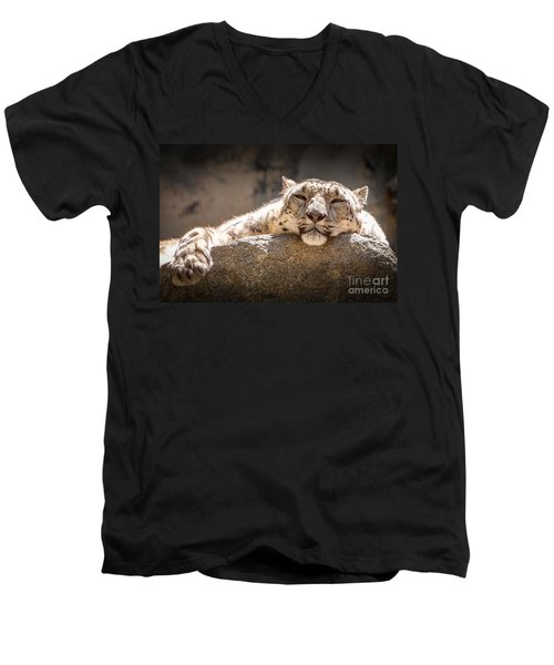 Men's V-Neck T-Shirt featuring the photograph Snow Leopard Relaxing by John Wadleigh