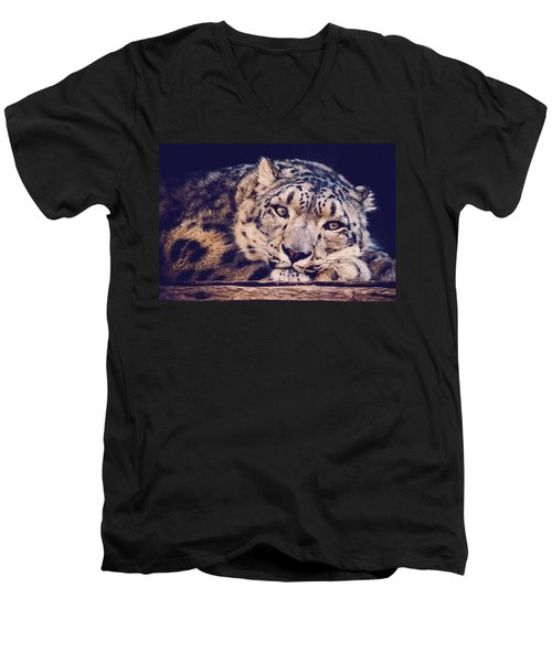 Snow Leopard Men's V-Neck T-Shirt by Sara Frank