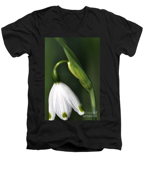 Men's V-Neck T-Shirt featuring the photograph Snowdrop by Joy Watson