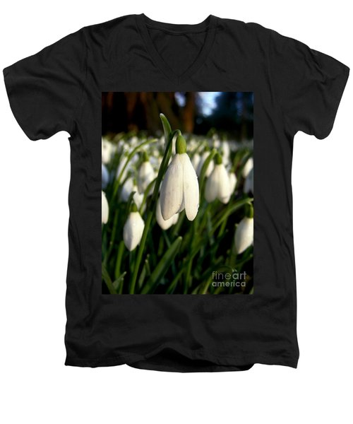 Men's V-Neck T-Shirt featuring the photograph Snowdrops by Nina Ficur Feenan