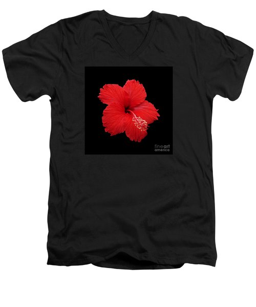 Men's V-Neck T-Shirt featuring the photograph Snowflake Hibiscus by Judy Whitton