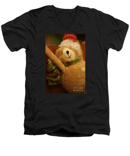 Snowflake Men's V-Neck T-Shirt by Linda Shafer