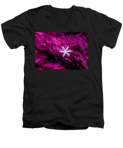 Snowflake On Magenta Men's V-Neck T-Shirt