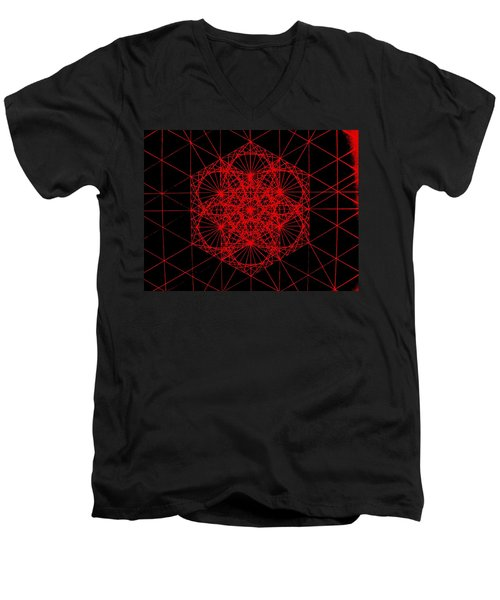 Men's V-Neck T-Shirt featuring the drawing Snowflake Shape Comes From Frequency And Mass by Jason Padgett