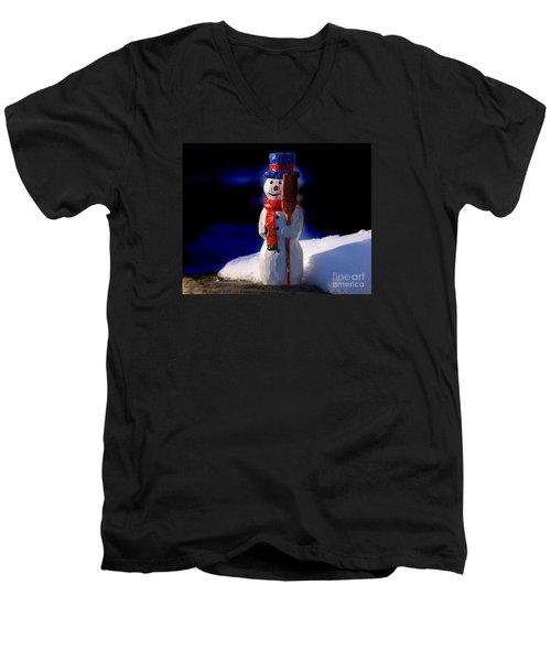 Snowman By George Wood Men's V-Neck T-Shirt