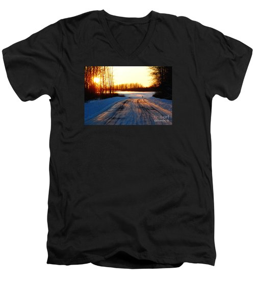 Men's V-Neck T-Shirt featuring the photograph Snowy Anchorage Sunset by Cynthia Lagoudakis