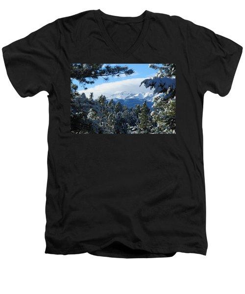 Snowy Pikes Peak Men's V-Neck T-Shirt