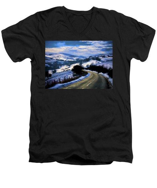Snowy Scene And Rural Road Men's V-Neck T-Shirt