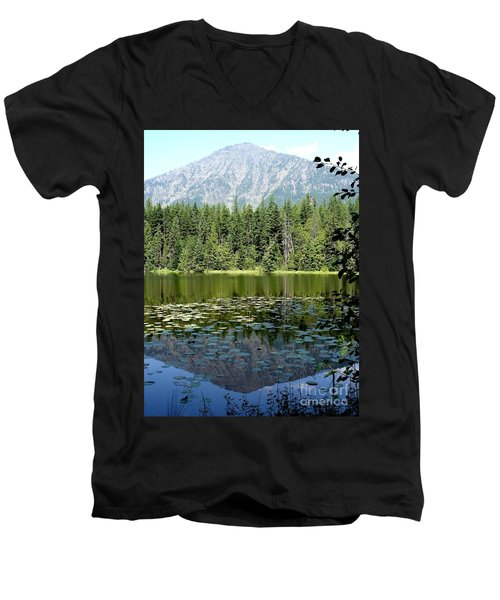 Men's V-Neck T-Shirt featuring the photograph Snyder Lake Reflection by Kerri Mortenson